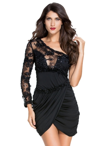75593c20e7e Sexy Lace Bodice One Sleeve Party Dress