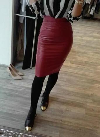 Europa mujeres Sexy falda PU cuero Color sólido Midi lápiz faldas OL Casual Slim Clubwear Borgoña