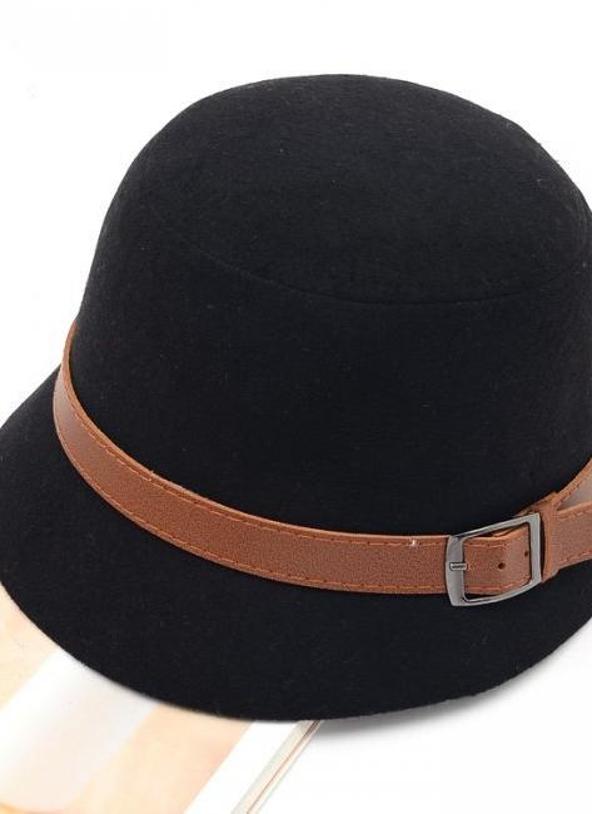 negro Moda Vintage mujer damas Fedora cúpula del sombrero de fieltro  sombreros cubo gorro negro - Chicuu 6732f65ab71
