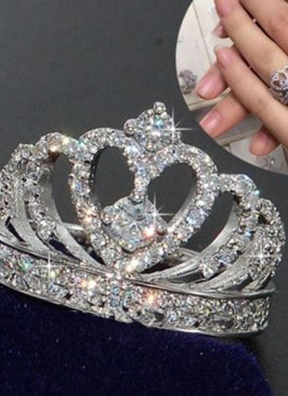 10 Crown Inlay Diamond Ring Silver Fashion Crystal Rings