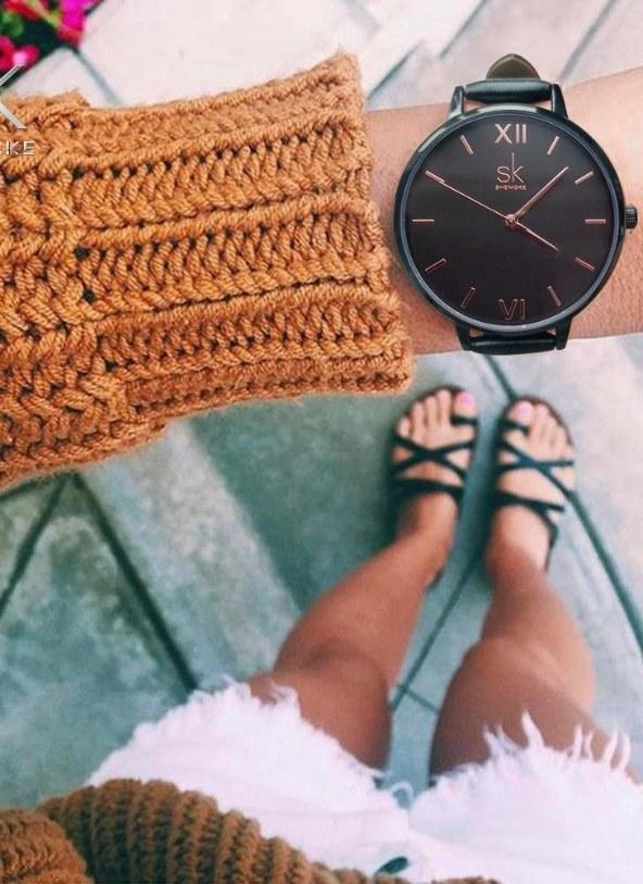 f788324870 SK Einfache Damenuhr Lederarmband Wasserdicht Quarz Armbanduhr Casual  Marmor Zifferblatt