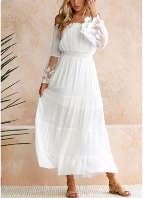 Abito da donna sexy maxi abito lungo dalla spalla in pizzo manica a maniche  corte abito da sera elegante boho 8cf46dc3236