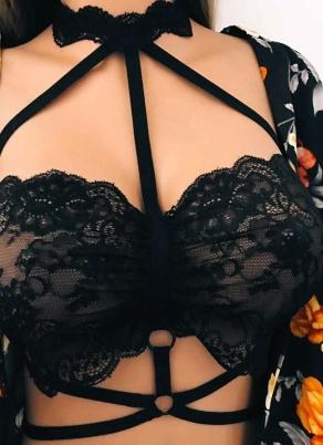 3e9e4ceb8b Sexy Women Lingerie Sheer Lace Strappy Bra Bondage Belt Erotic Crop Top Bralette  Underwear Black White