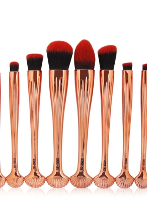 a8b39d26e359b 10pcs Shell Cosmetic Makeup Brushes Set Foundation Power Contour Eye Shadow  Brow Blending Beauty Make Up Tool Kits