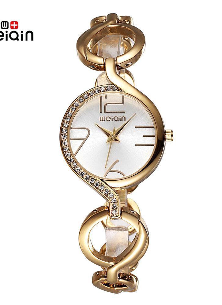 d718ed39857 WEIQIN marca luxo relógios de ouro mulheres moda pulseira oca relógio  quartzo relógios de pulso