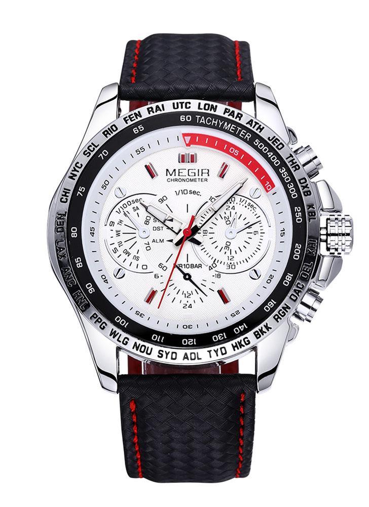 MEGIR De Lujo De Lujo Deportivo marca reloj de cuarzo impermeable Reloj de los hombres