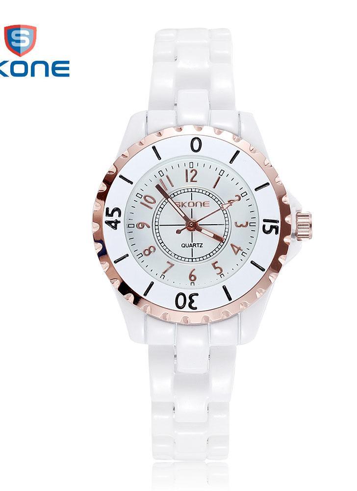 f9d0824f4a2 rose gold + branco mulheres SKONE Ceramic Watchband Casual Quartz ...