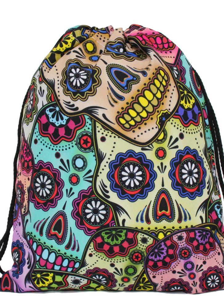 Print Drawstring Bucket Bag