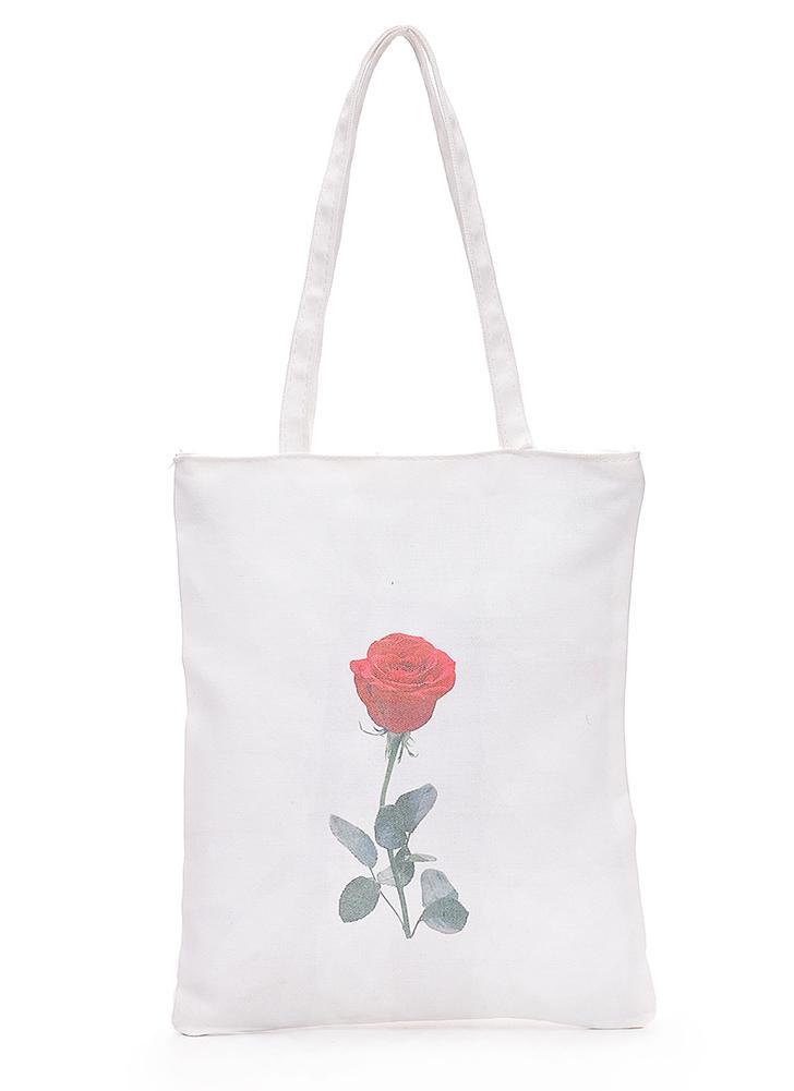Canvas Umhängetasche Totes Cute Floral Katze Lippen Drucken Große Kapazität Casual Handtasche Einkaufstasche