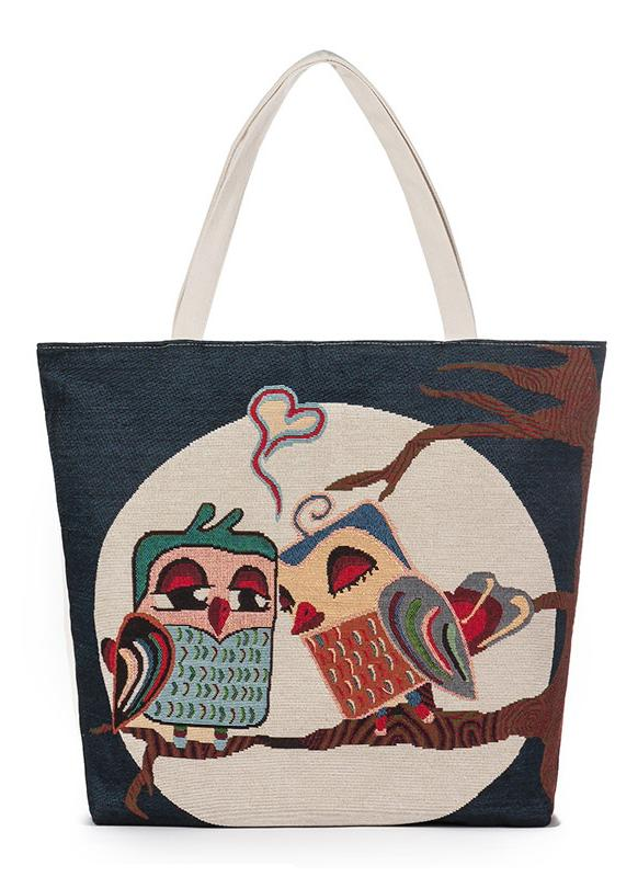 Bolso nuevo de las mujeres bolso de lona Animal floral bordado jacquard de gran capacidad Casual Bolsa de asas de las compras