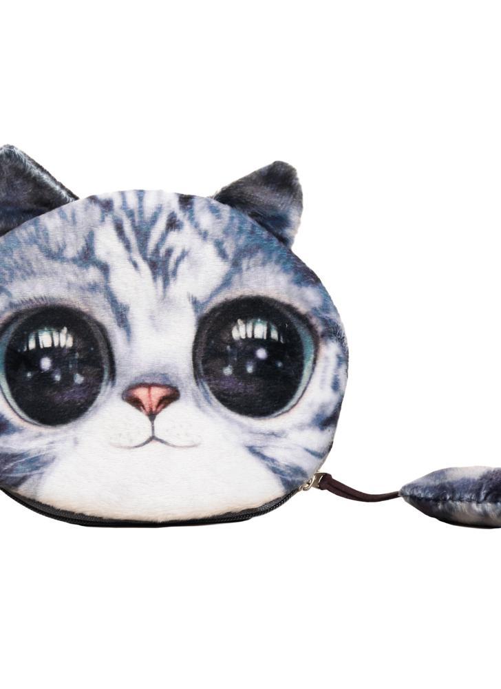 blau Niedliche Mode Frauen Coin Purse Katze Tierkopf drucken Tail ...