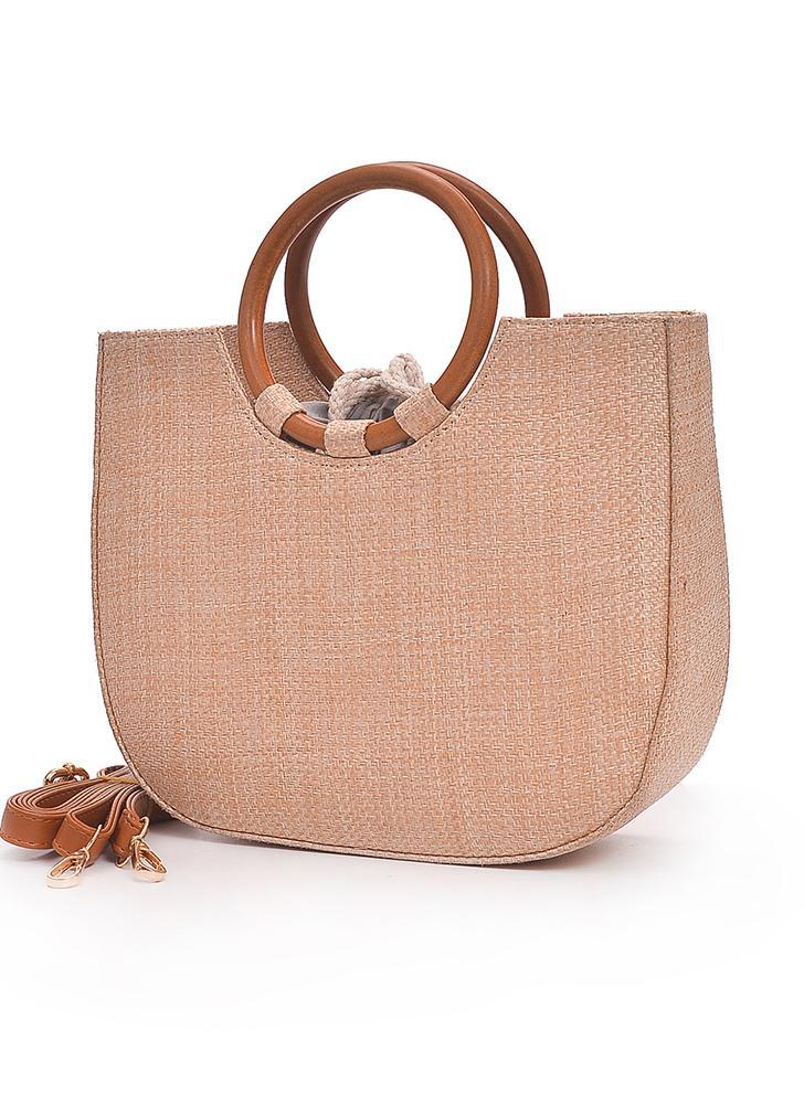 Straw Handbag Knitting Woven Wooden Handle Casual Tote Beach Bohemian Crossbody Bag