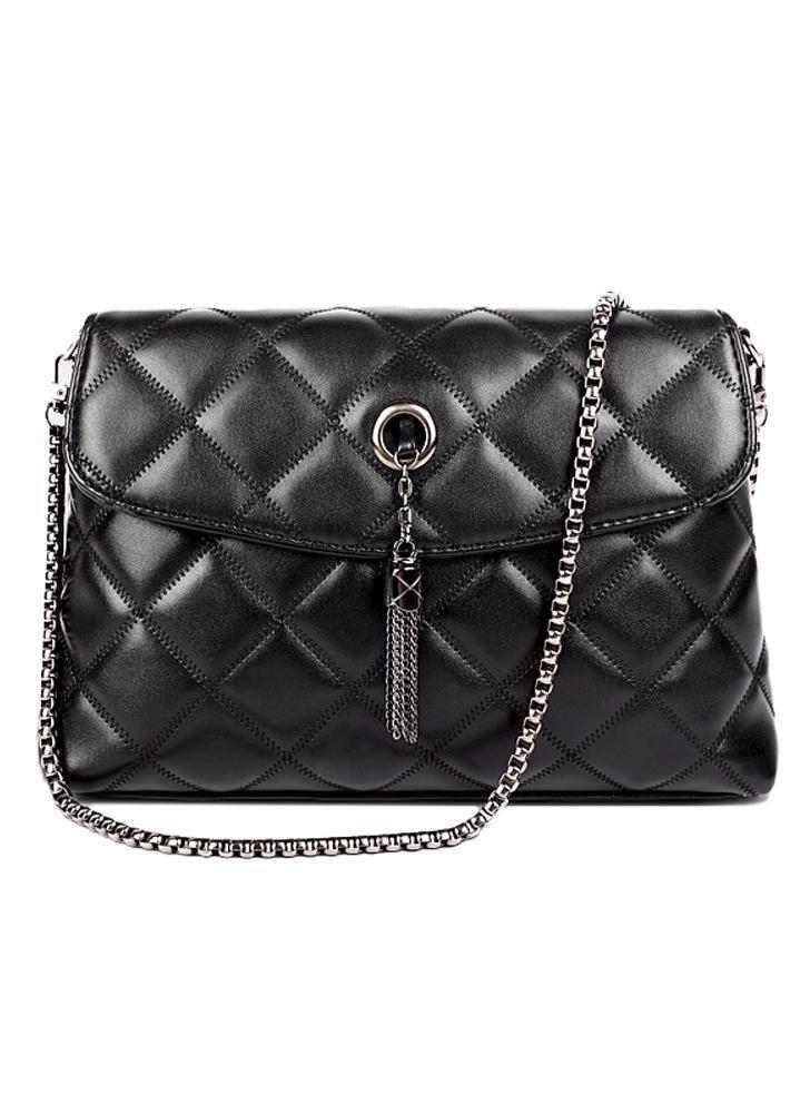 Femmes nouveau gland sac à bandoulière Pu cuir matelassé carreaux chaîne fil Crossbody Messenger sac sac à main noir