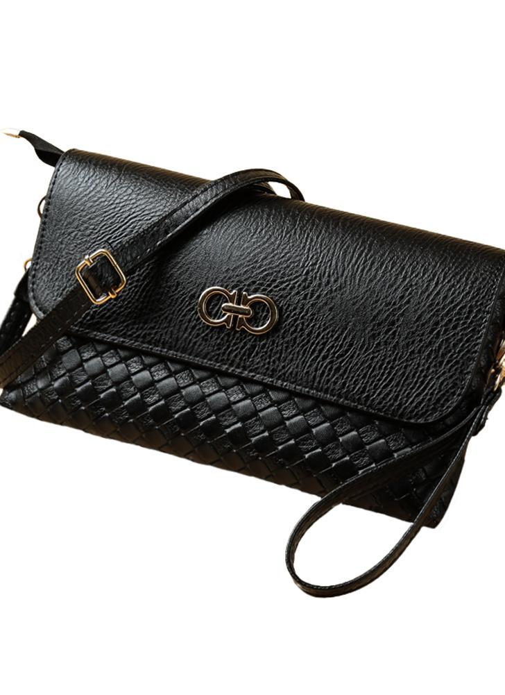 Nouvelles femmes PU sac bandoulière Weave bouton pression fermeture éclair occasionnels épaule Vintage sacs-pochettes