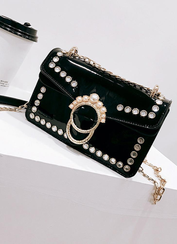 Las mujeres elegantes de la PU del bolso de Crossbody perlas correa de hombro ajustable cubren bolsos de hombro