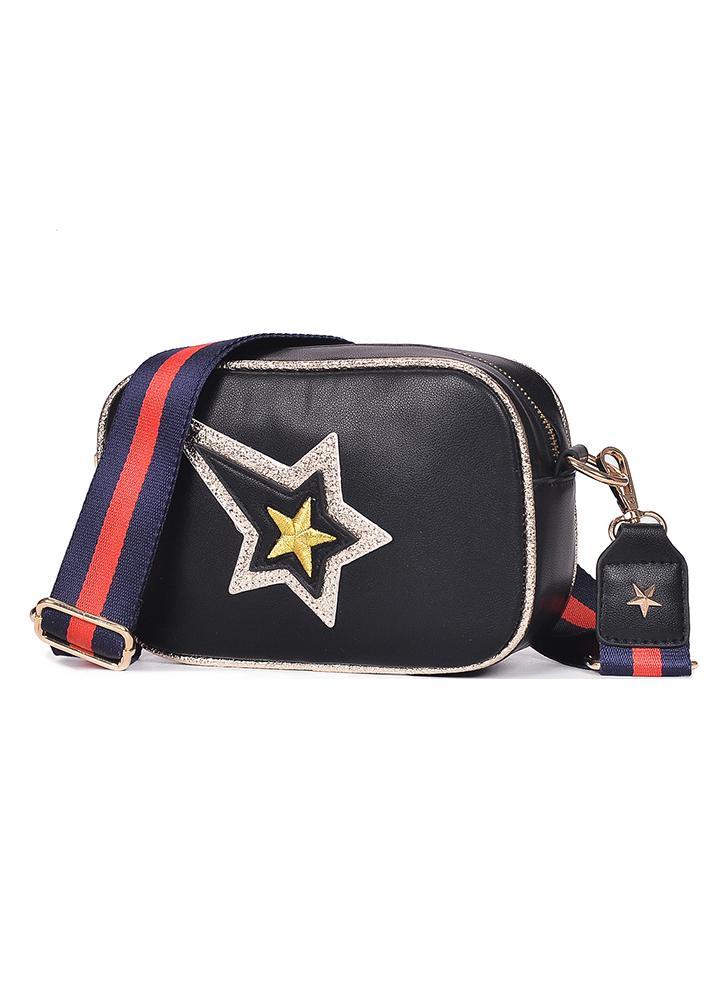 Bolso Crossbody de las mujeres bordado de la estrella del cuero de la PU del bordado de la estrella del contraste rayas ocasionales bolso pequeño hombro