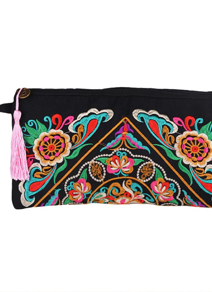 Embroidery Contrast Wrist Strap Clutch Purse