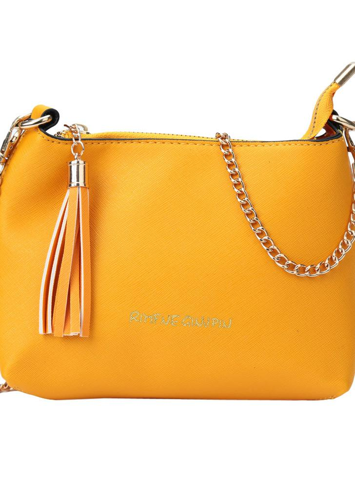 Vintage PU Leather Tassel Zipper Solid Color Crossbody Bag