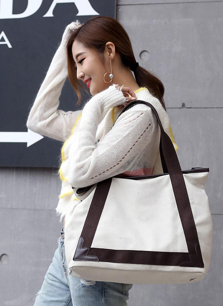 Mode Frauen Leinwand Casual Vintage Tote PU Leder Handtaschen