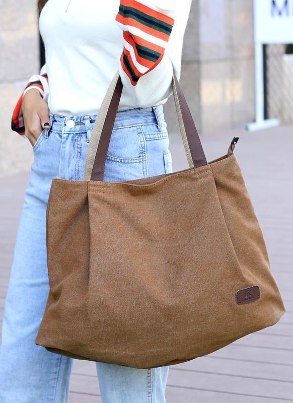 Frauen Leinwand Handtasche Volltonfarbe Messenger Crossbody Umhängetasche
