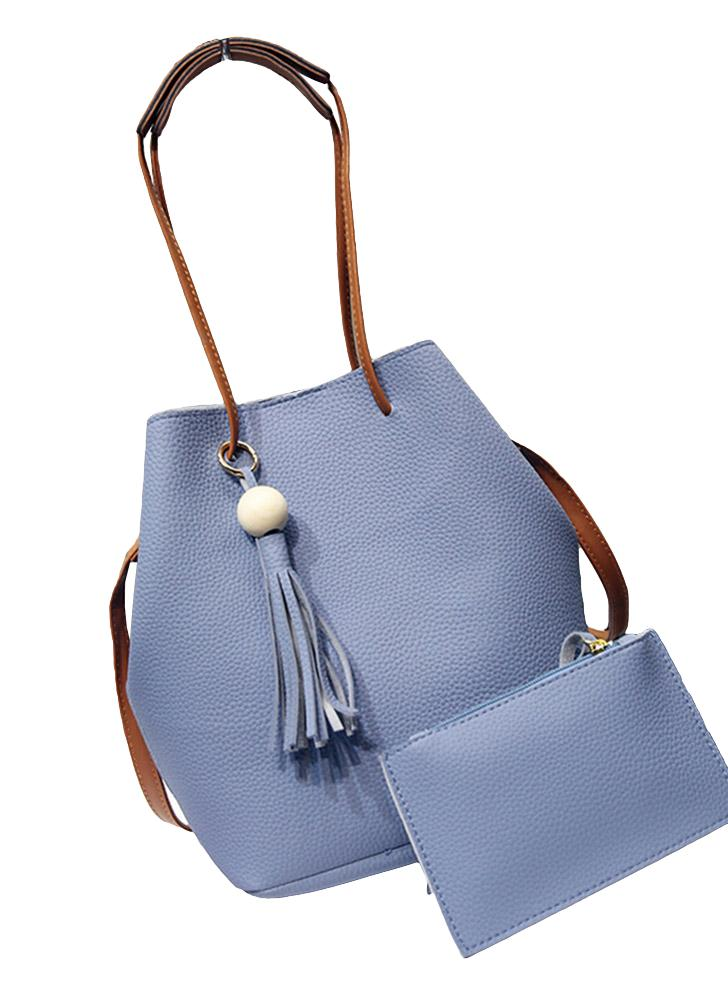 Mujer de moda joven de la PU del bolso del cubo de la borla bolso colgante de la vendimia del hombro Crossbody Sólido dos piezas con el bolso de embrague
