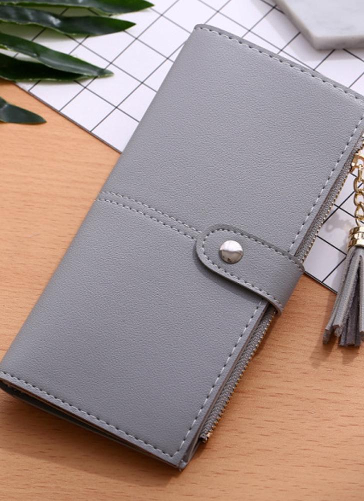 Femmes PU Cuir Casual Tassel Wallet Pochette
