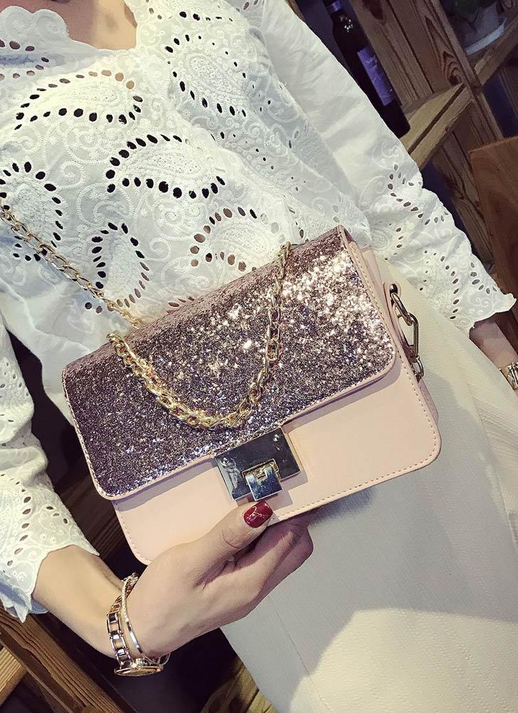 Lantejoulas PU Couro Cadeia Handle das Mulheres Bandoleira Mini Handbag