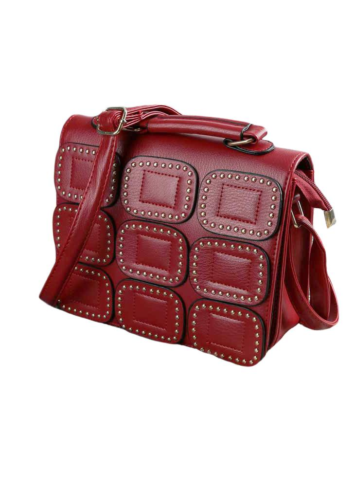 Chic PU Rivet Flap Magnetic Press Stud Shoulder Crossbody Bag