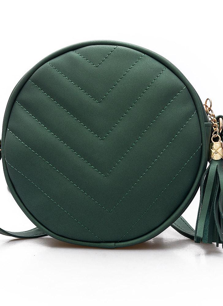 Mulheres acolchoado Crossbody Saco Tassel PU Leather Shoulder Messenger Bag Tote Handbag Preto / verde / cinza