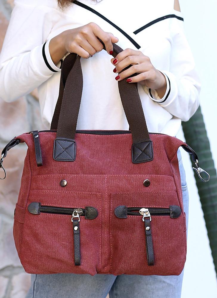 Bolso de hombro ocasional del totalizador del bolso de la lona de las mujeres de la moda