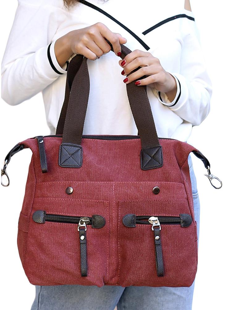 65ec5a4f2e27 red Fashion Women Canvas Handbag Casual Tote Shoulder Bag - Chicuu