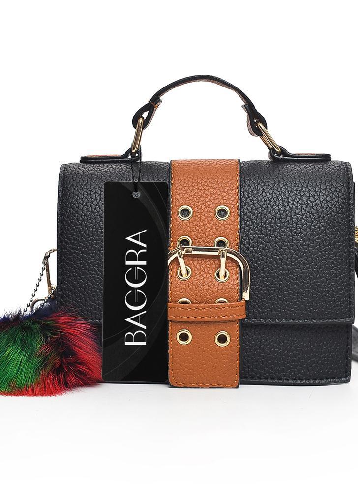 Moda feminina bolsa de ombro PU couro fivela Pompom pequeno Crossbody Messenger Bag bolsa marrom / verde / vermelho