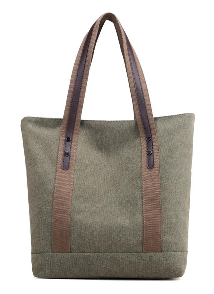 Canvas Shoulder Bag Totes Large Capacity Zipper Pockets Handbag Shopping Bag