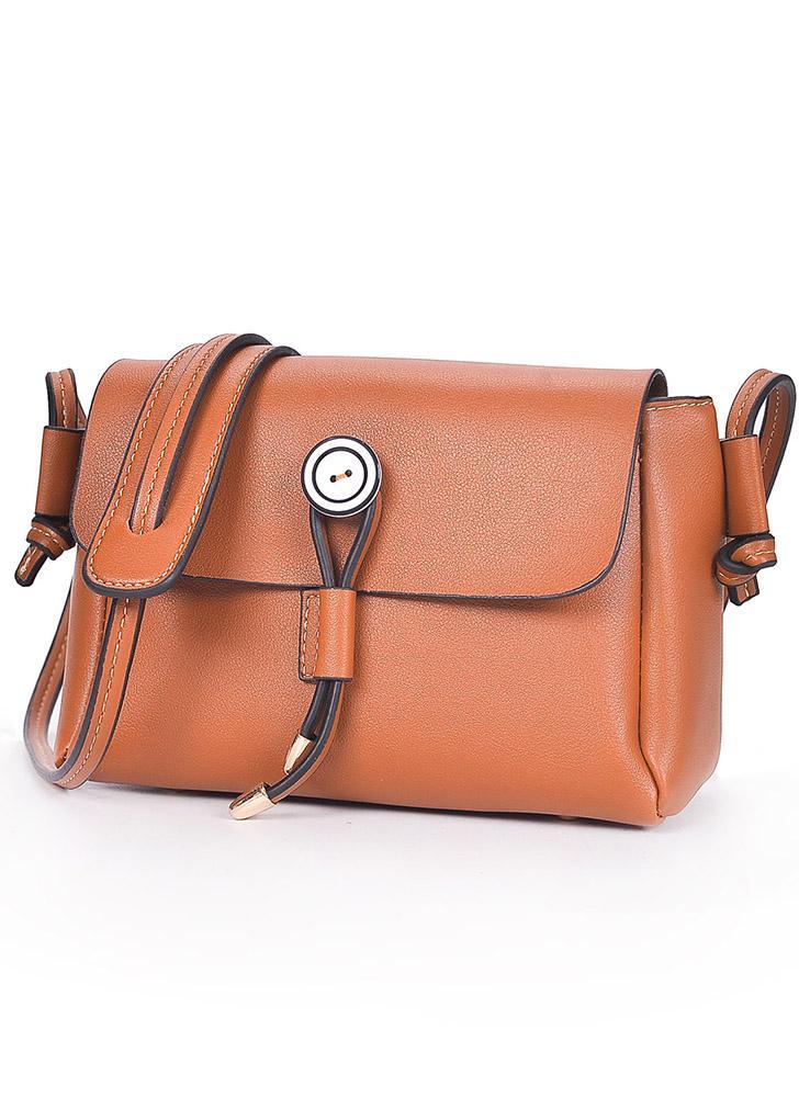 Sac à bandoulière en cuir PU à rabat avec bouton frontal Sac à bandoulière décontracté avec mini sac à bandoulière