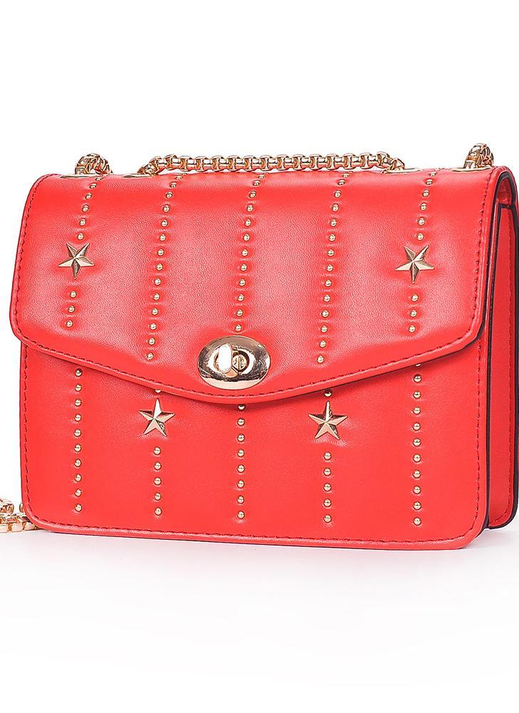 Mini Bolso Crossbody PU cuero Rivet Hasp Hombro cadena Messenger Bag bolso rojo / negro / blanco