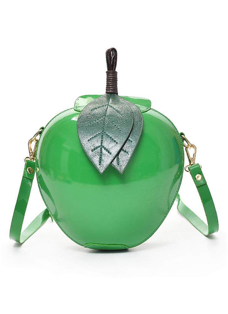 Apple Shape PU Leather Crossbody Bag Cute Cartoon Mini Messenger Bags