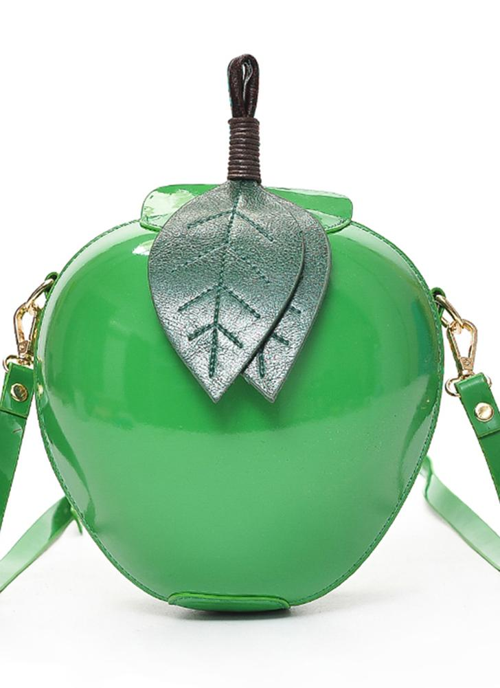 verde Bolso cruzado de cuero de la PU de la forma de Apple Bolsas de ...