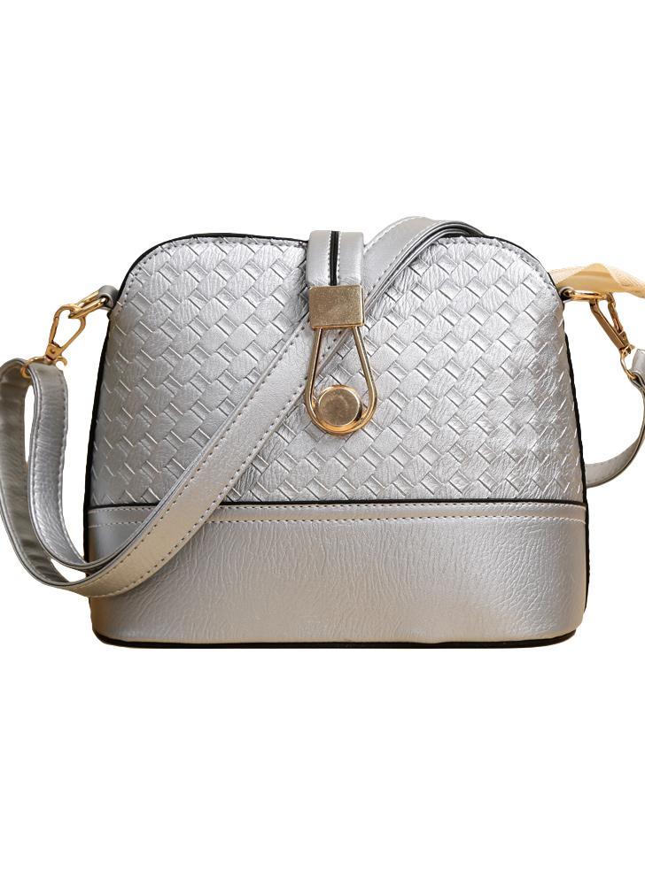 Nuevas mujeres PU bandolera tejido cerrojo cremallera Casual Vintage Messenger Shell bolsos de hombro