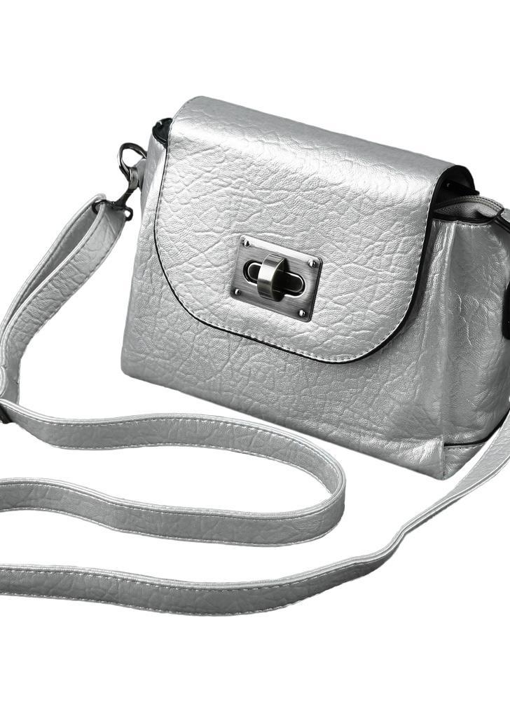 Frauen kleine Crossbody PU Leder Messenger Tasche aus PVC für Damen Volltonfarbe weiblichen Handtasche schwarzgrausilber