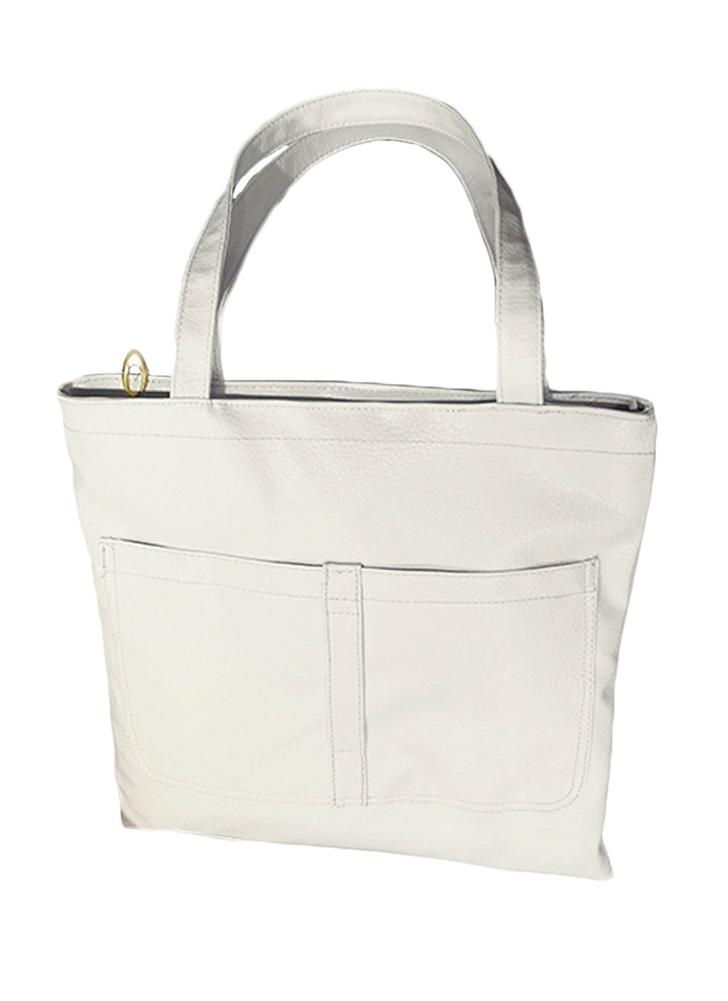 a5089e072d07e8 white Fashion PU Leather Zipper Grab Handle Double Pocket Totes - Chicuu