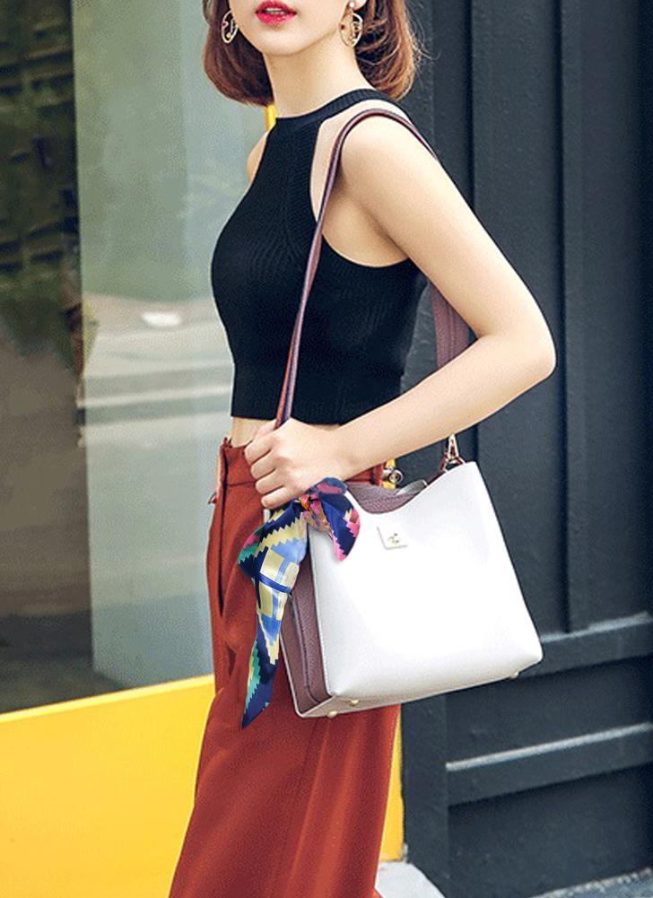 Mulheres bolsa de couro PU cachecol bolsa de ombro