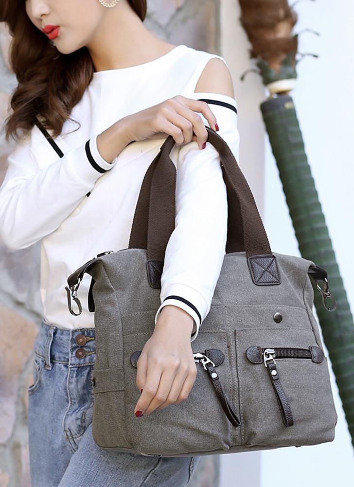 Mode Frauen Leinwand Handtasche Casual Tote Schultertasche