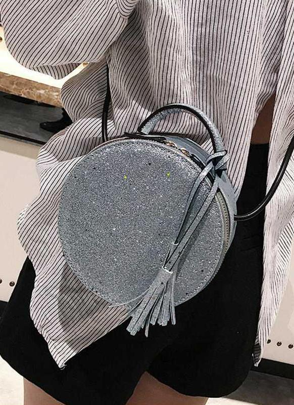 Fashion Women Round Crossbody Bag Sequined PU Leather Circle Mini Shoulder Bag Handbag Grey/Silver