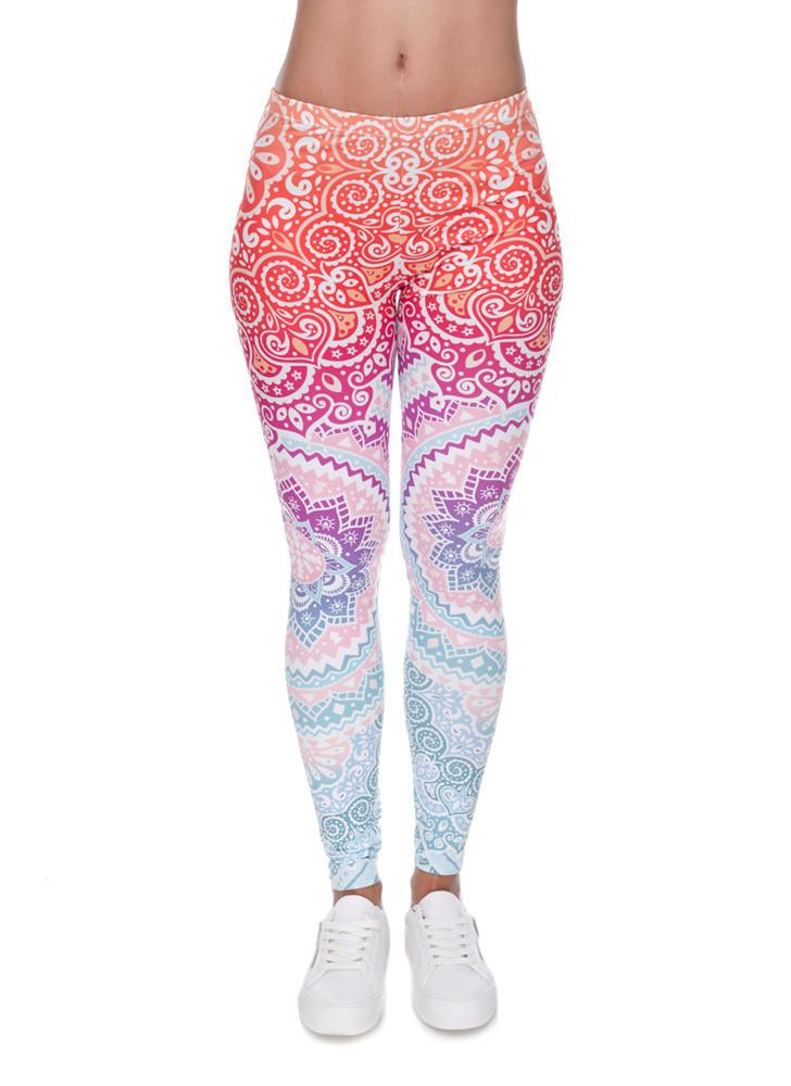 Women's Fashion Yoga Sports Leggings Slim Sexy Printing Leggings High Waist Elastic  Pants