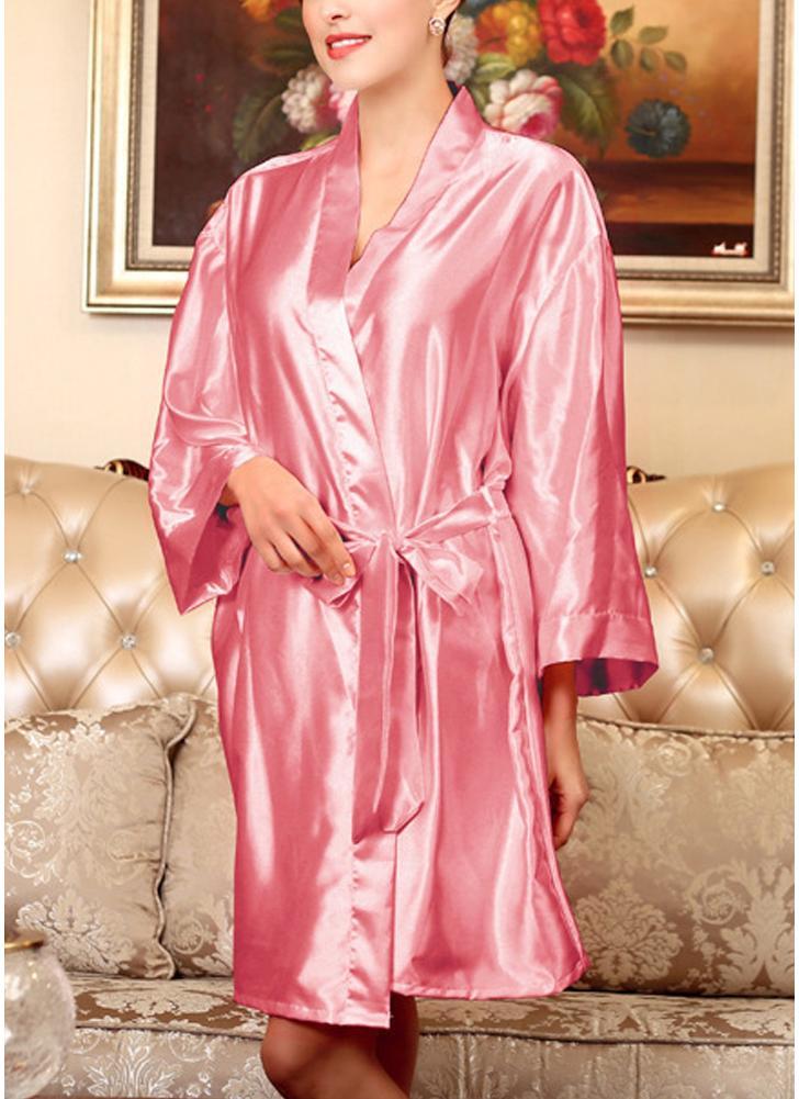 pink2 one size Women Silk Satin Night Robe Bathrobe Short Kimono ...