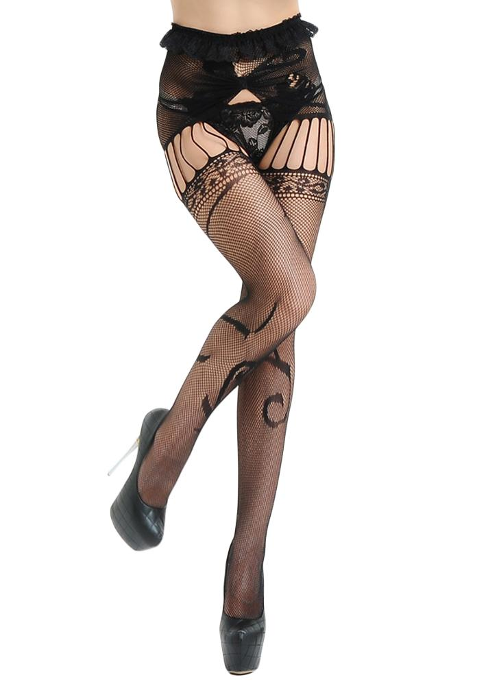 Women Pantyhose Fishnet Tights Sheer Lace Cut Out Body Stockings Lingerie Hosiery