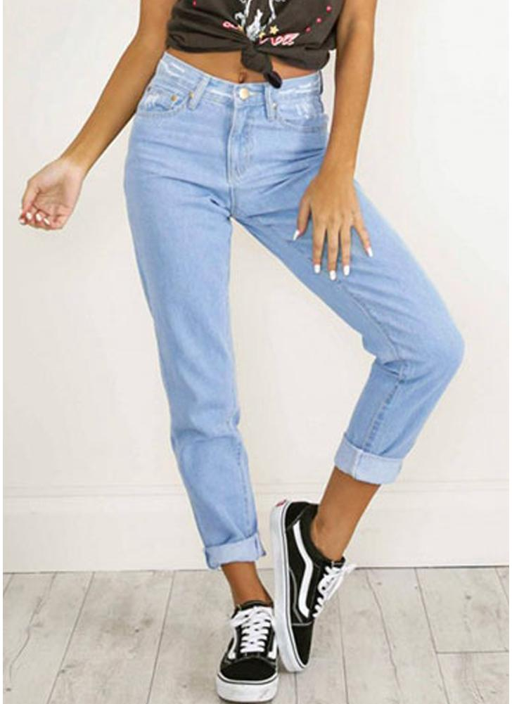 Denim Ripped Washed High Waist Jeans