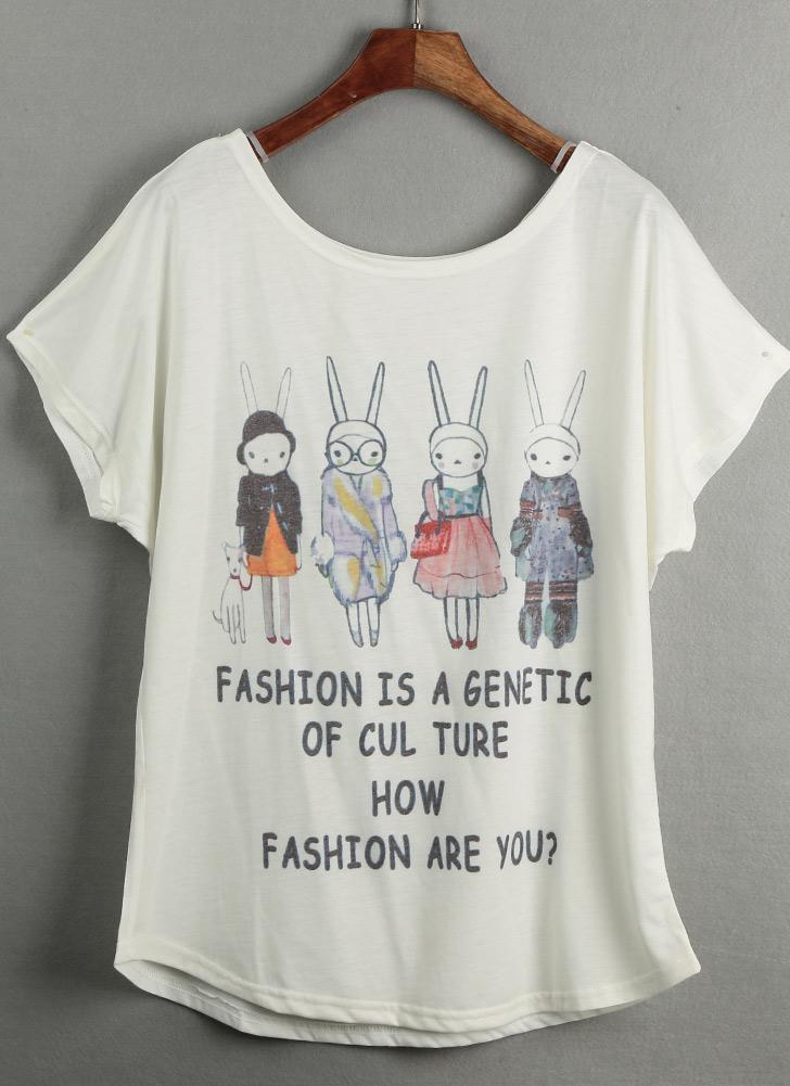 Neue Frauen-T-Shirt Sonderdruck O-Ansatz Kurz Batwing Ärmel Pullover lose beiläufige plus Größe Bluse Top