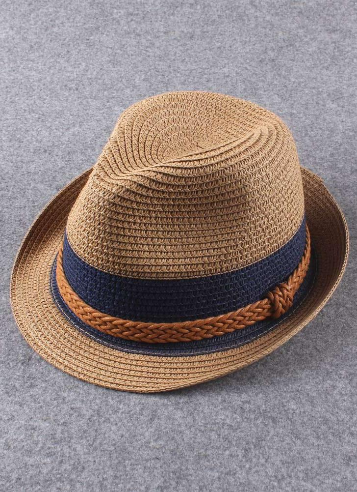 Mulheres Vintage novas chapéu de palha Panamá contraste cor trança verão  sol praia férias Cap Fedora f6bbf57e7f0