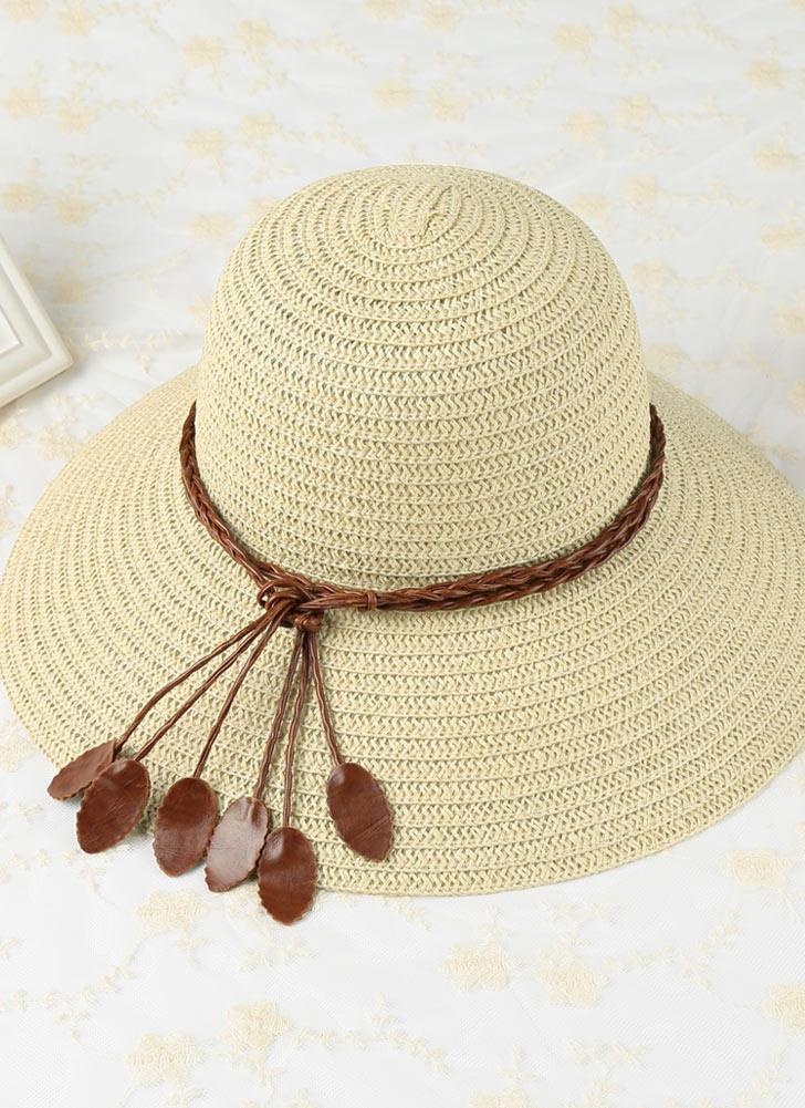 Las mujeres sombrero de paja de las hojas del borde grande ancho plegable  flojo ocasional del 1d156a3fd0e